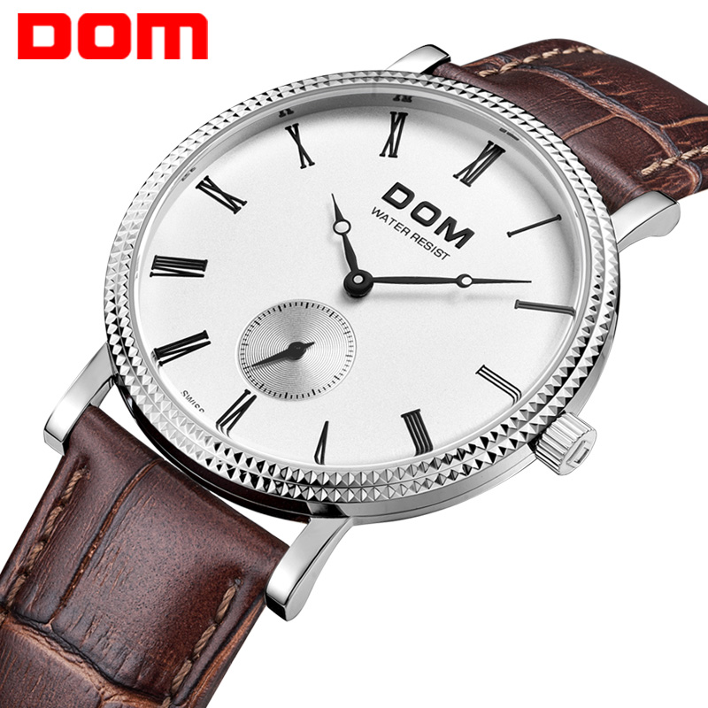 ФОТО DOM  mens watches top brand luxury  waterproof quartz watch Business leather watch reloj hombre marca de lujo M253