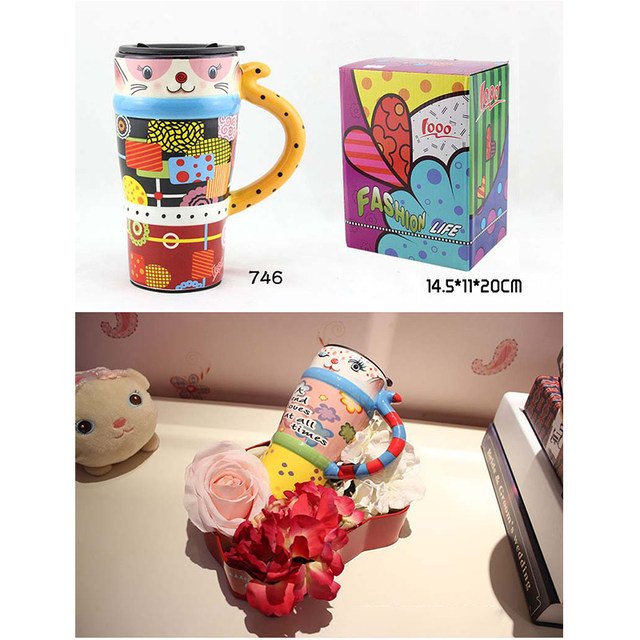 Gift Lovely Cat Meimei Mugs Kids China Bone Handle Painting Cups Home Drinkware Ceramic Large Capacity Coffee 29