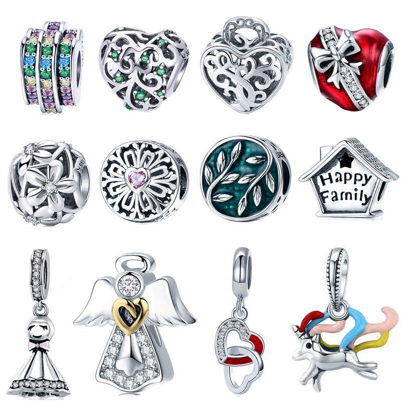 565d34e1f INBEAUT 100% 925 Sterling Silver Family Tree Cute House Bow Red Heart  Blue&Yellow Charm Beads