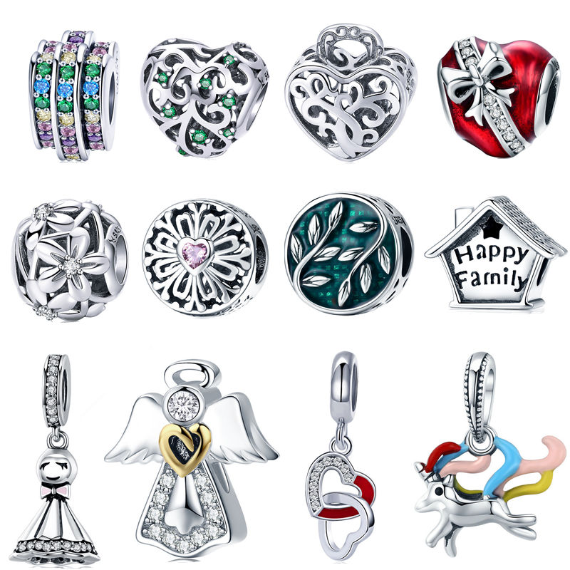 INBEAUT 100% 925 Sterling Silver Family Tree Cute House Bow Red Heart Blue&Yellow Unicorn Charm Beads fit Pandora Bracelet