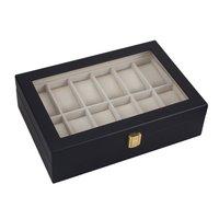 GENBOLI שחור 12 רשתות עץ שעונים Box Case ארון אחסון ארגונית מחזיק תכשיטי פורטה Joias מתנה חדש לתצוגת תכשיטים