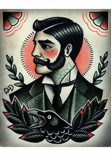 Brand new Hot Vintage Hairdresser Tattoos Patterned Posters Kraft paper  ML49