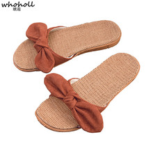 WHOHOLL Fashion Linen Home Flip-flops Slipper Summer Cool Sweet Bow Sweat Non-slip Beach Comfortable  Indoor Women Shoes