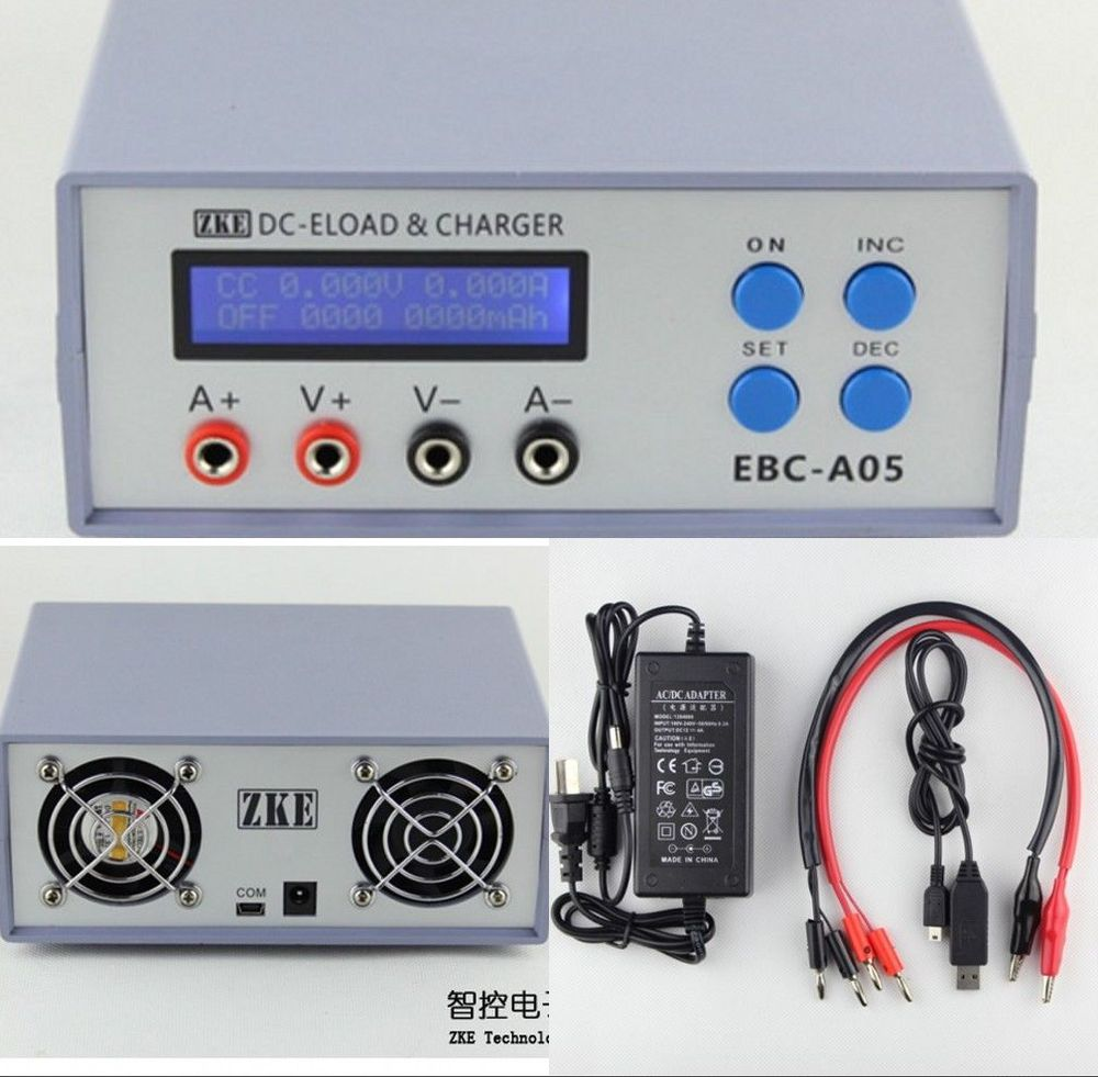 EBC-A05 Electronic Load Battery Tester Charger f/Capacity Computer + Adapter ebc a40l high current battery capacity tester battery line graph battery tester battery testing 20acharge 40a discharge
