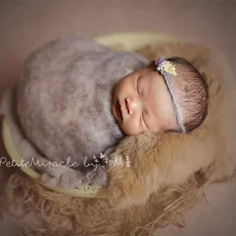 Мягкая шерсть слой фотографии меховое одеяло Винтаж Кролик Мех позирует слой детское тканевое одеяло реквизиты для фотографии новорожденных реквизиты