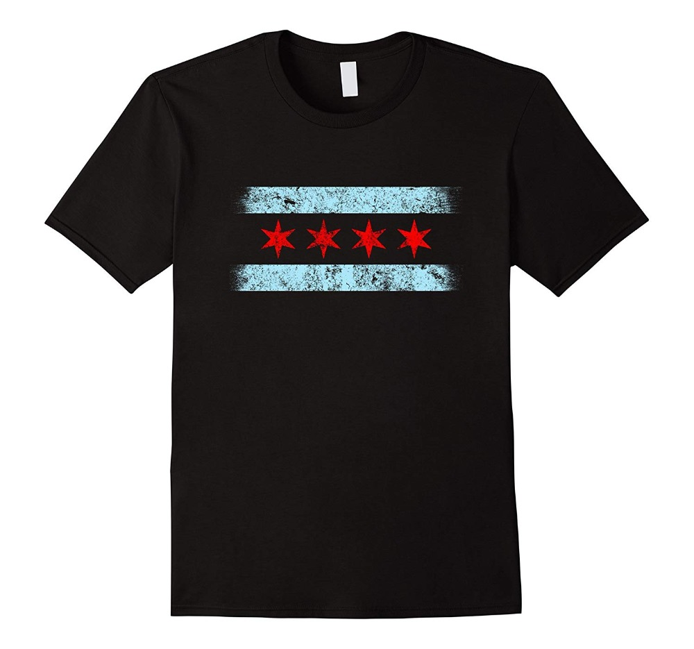 Chicago City Flag Distressed Windy City <font><b>Illinois</b></font> Fashion Brand Clothing Men Stranger Things Print Original Fitness T-shirt image