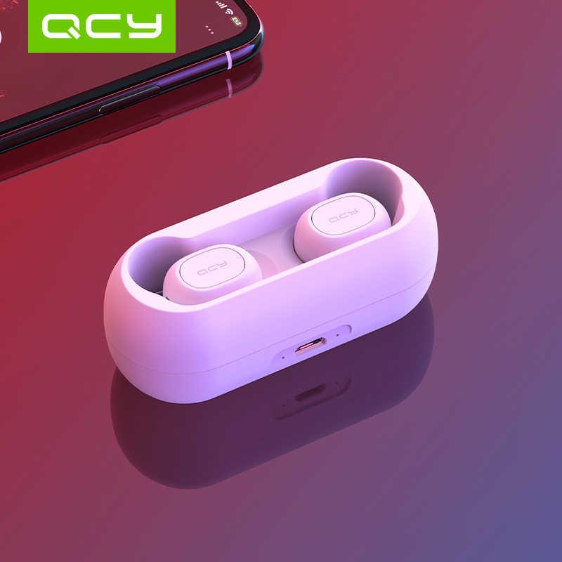 QCY QS1 5.0 TWS سماعات بلوتوث T1C صغيرة الشبح ثلاثية الأبعاد سماعة ستريو لاسلكية مع صندوق تخزين شحن المحمول