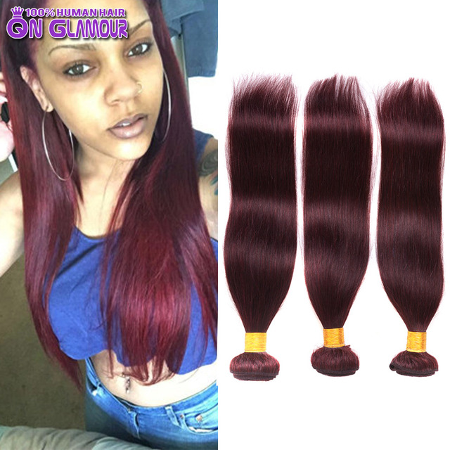 7a Grade 99j Red Human Hair Straight 3 Bundles Burgundy Malaysia