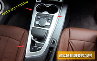 Lapetus Transmission Shift Gear Box Panel Water Cup Holder Frame Cover Trim Fit For Audi A4 B9 A5 2016 2019 ABS Pearl Chrome