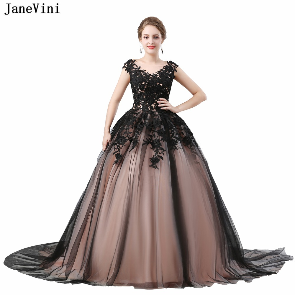 JaneVini Elegant Long   Bridesmaid     Dresses   Court Train Scoop Neck Beaded Appliques Lace-up Back Tulle Ball Gown Formal Prom Gowns
