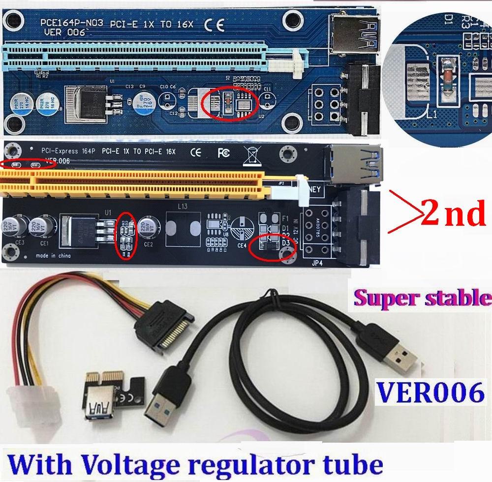 Prix pour Régulateur Tube VER006 PCI Express PCI-E 1x à 16x Riser Card USB 3.0 Câble/Broches SATA 4Pin IDE Puissance Pour Bitcoin BTC mineur