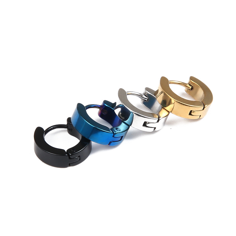 JeeMango Punk Stainless Steel Hoop Earrings For Women Men Fashion Steel/Gold/Black Color Earrings Simple Unisex Earrings A00172