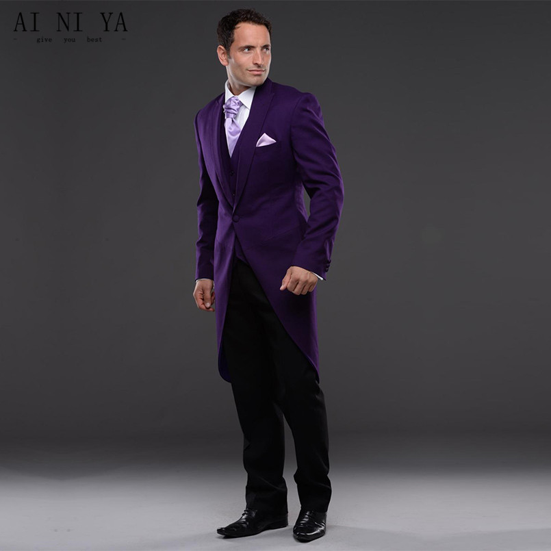 New Fashion Men Suits Tuxedo Purple Bridegroom 2019 Groom Tuxedo Men Wear Groomsman Best Man Suit Evening