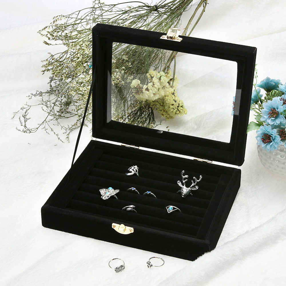 Ring Earrings Jewelry Box Display Storage Velvet Jewelry Case Casket Glass Cover Jewelry Organizer Holder Rack for Ring EarringRing Earrings Jewelry Box Display Storage Velvet Jewelry Case Casket Glass Cover Jewelry Organizer Holder Rack for Ring Earring