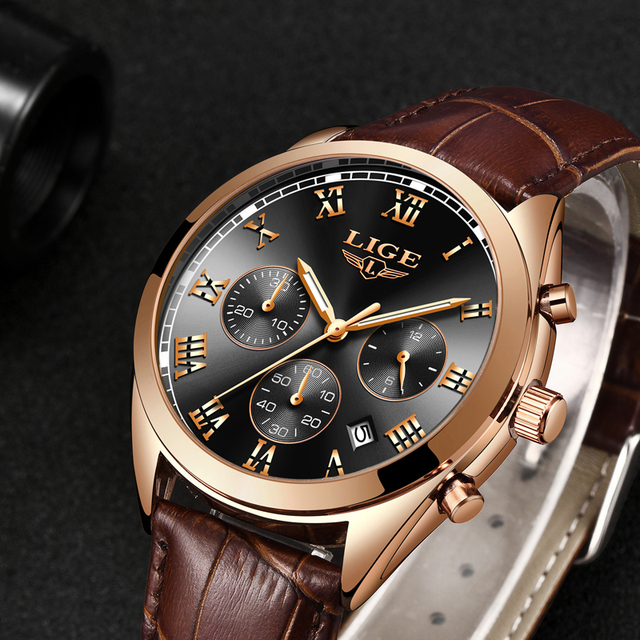 Luxury Waterproof 24 Hour Date Male Leather Relogio Masculino Sports Watch 4