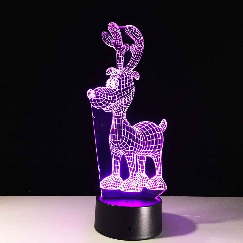 Deer Reindeer RGB LED Night Acrylic Night Light Christmas Decoration Lamp Projector Party 7 Colors Lights Kids Gift Drop Ship