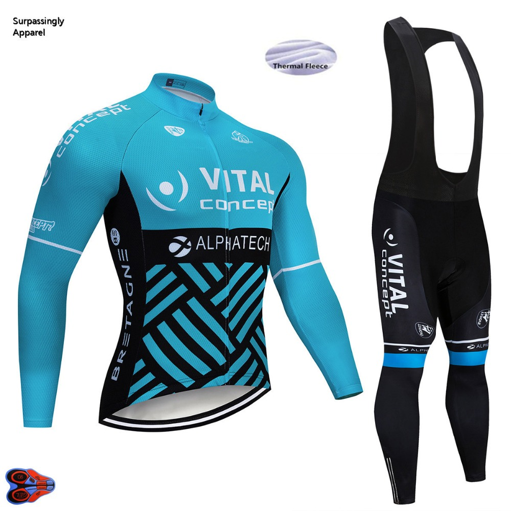2019 UCI Team Concept Cycling Jersey Gel Pad Bicycle Shorts Cycling Clothing Men Winter Sleeve Bicycle