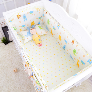 Image 3 - 5pcs Cartoon Baby Bedding Set Cotton Crib Bedding Set Baby Bed Linens For Girls Boys Bed Bumpers Sheet Pillowcase Multi Colors