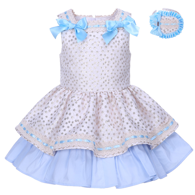 Pettigirl 2018 Summer Girls Dresses Golden Dot With Headwear Girl Boutique Clothes Children Costume For Kids G-DMGD001-1293