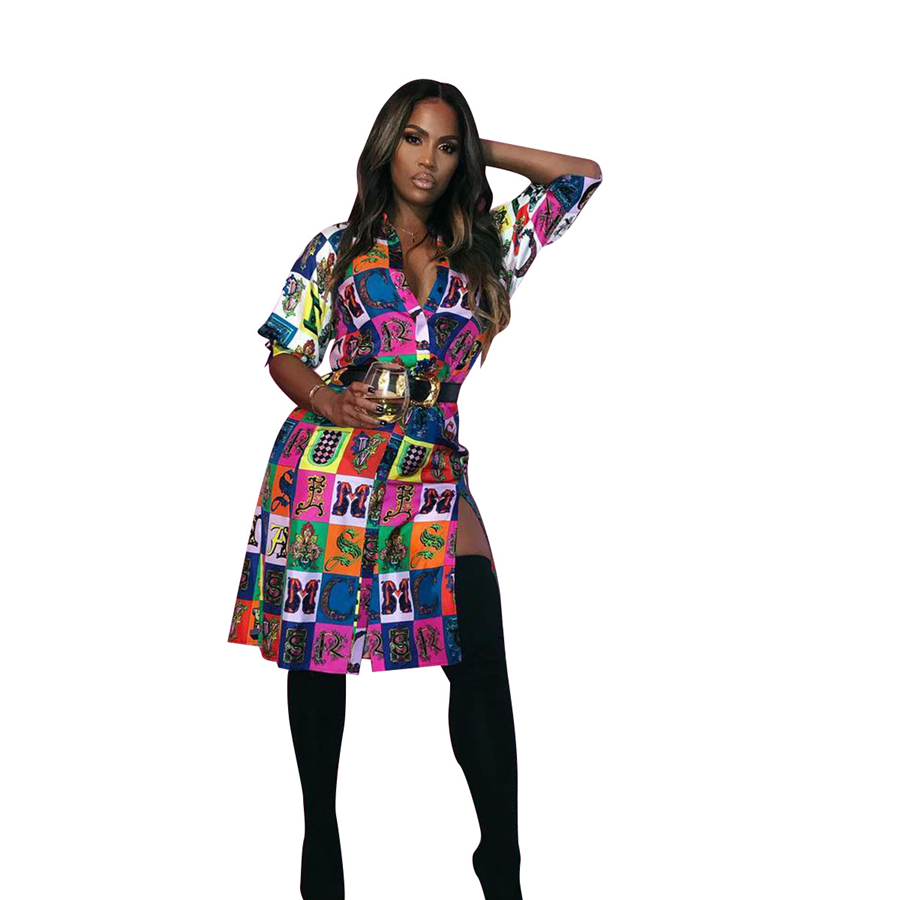 Best selling African shirt European and American fashion sexy digital printing split 7-sleeve shirt skirt (5)