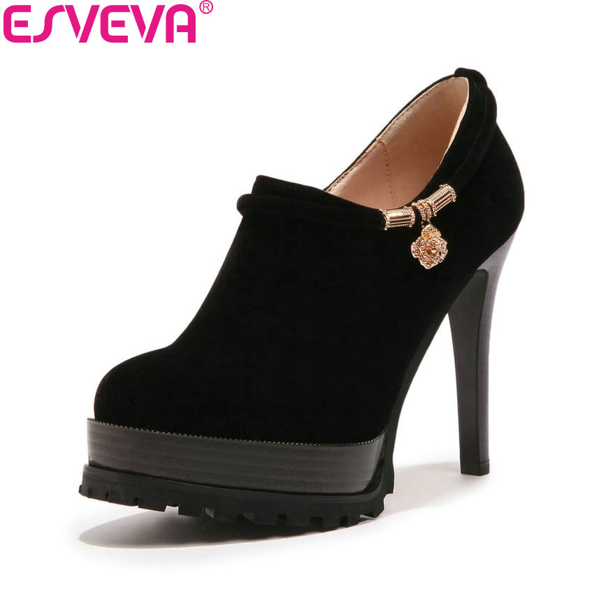ESVEVA 2018 Women Pumps Zippers Western Style All Match Shoes Round Toe Suede Thin High Heel Platform 3cm Women Shoes Size 34-43 цена