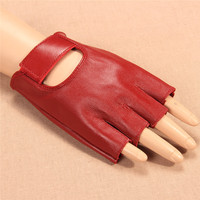 2017 New Women Gloves Red Half Finger Genuine Leather Glove Dance Driving Semi Finger Short Style