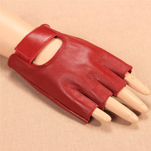 2017 New Women Gloves Red Half Finger Genuine Leather Glove Dance Driving Semi-Finger Short Style Free Shipping