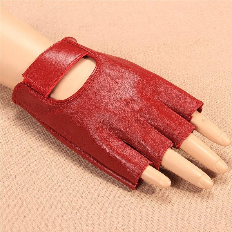 2020 New Women Gloves Red Half Finger Genuine Leather Glove Dance Driving Semi-Finger Short Style Free Shipping  JT905