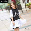 LouisDog Summer Dress for Teenagers Junior Girls Drop Waist Dress Tulle Patchwork Ruffled Flare Sleeve Dresses 13 14 Years
