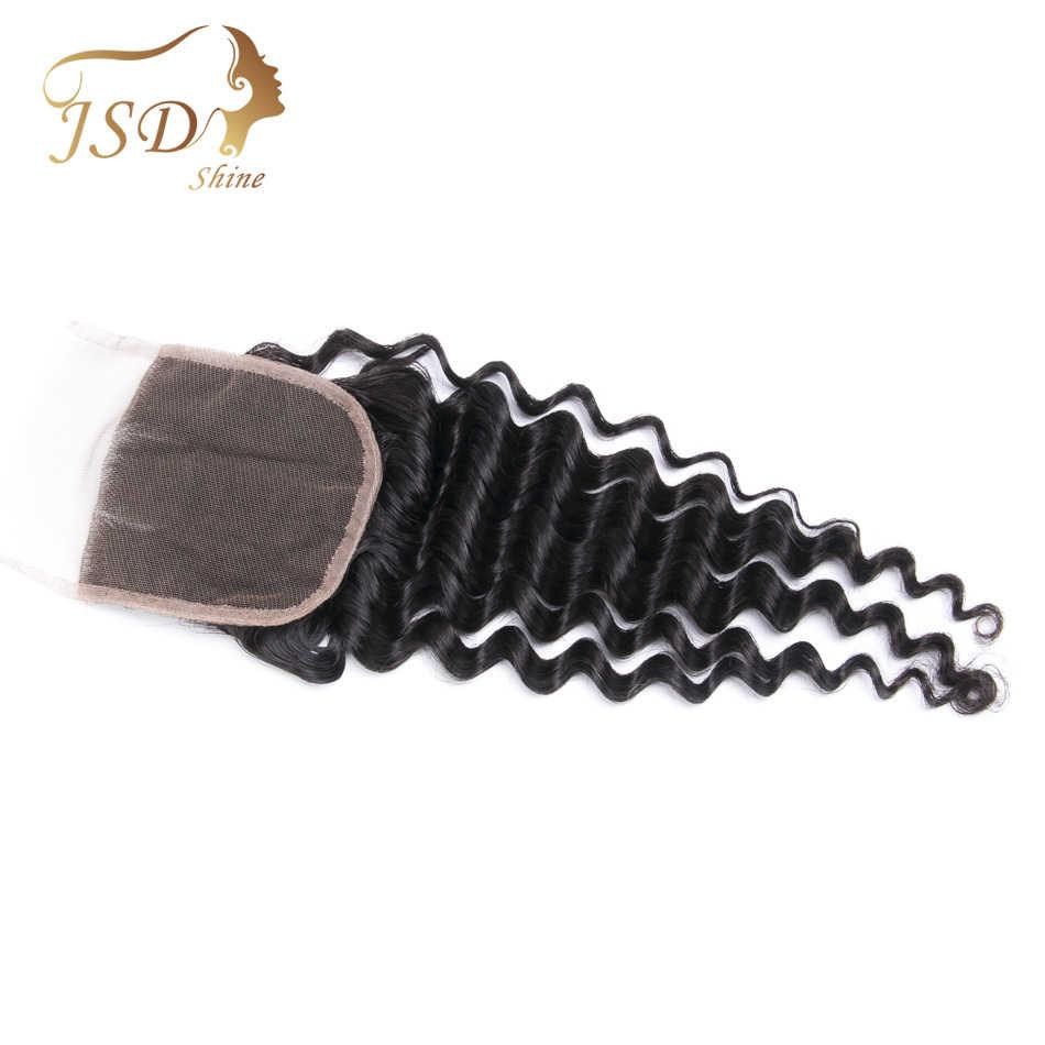 JSDShine 4x4 extensiones de cabello humano brasileño de onda profunda Cierre de encaje suizo parte media con nudos blanqueados pelo Remy 8 ''-20''