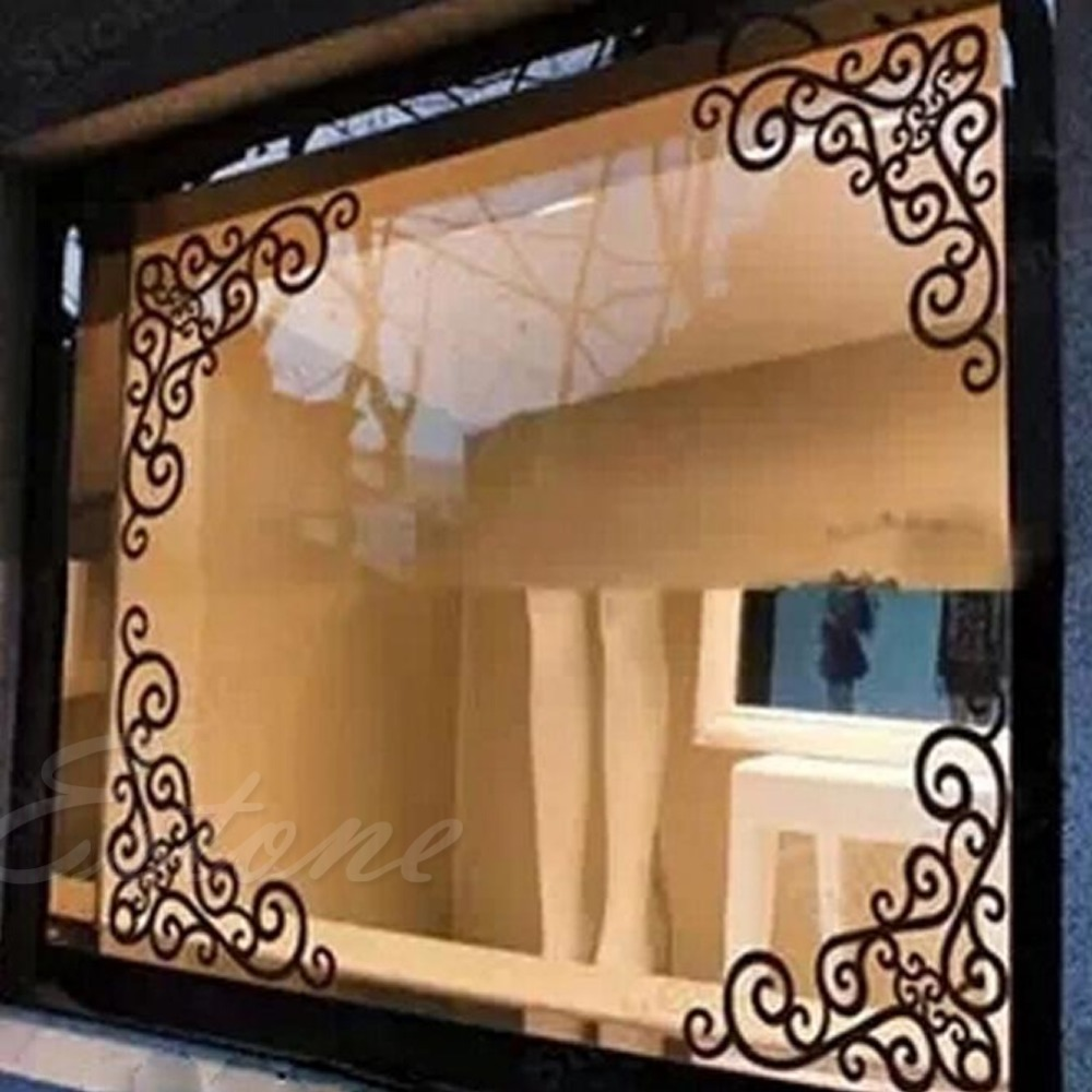 S Home New 4Pcs DIY Wall Decal Decor Window Bath Room Mirror Art Sticker Removable