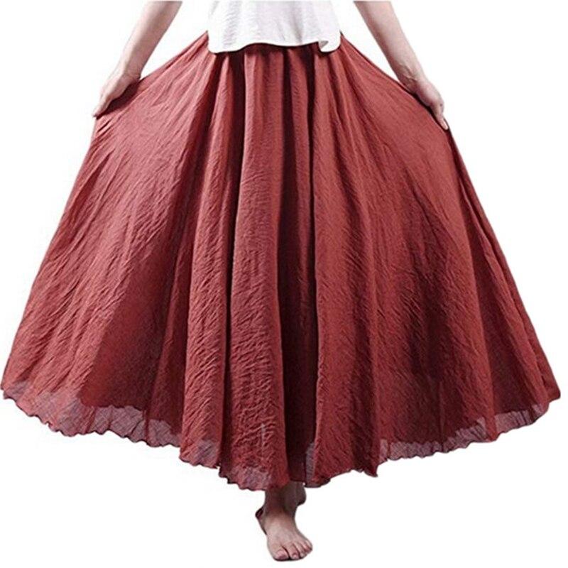 Paris Girl Women Linen Cotton Long Skirts Elastic Waist Pleated Maxi Skirts Beach Boho Vintage Summer Skirts