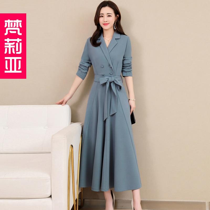 Spring and Autumn 2019 New Women's Dresses Korean Edition Long Sleeve Dresses Overlap Long Popular Temperament with Bottom 102