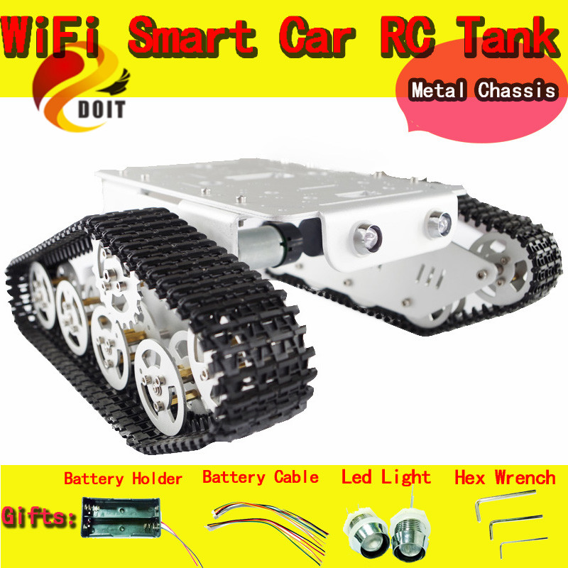 Official DOIT Metal Robot Tank Car chassis Track Caterpillar Chassis Remote Control Tracked Crawler Wheel Track Mounted Model official doit caeser ts600 4wd damping tracked metal tank car chassis smart robot toy robotic competition