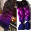 Blue Ombre Kanekalon Braiding Hair 1-10Pcs Ombre Three Tone Braiding Hair 24Inch  Purple Ombre Kanekalon Braiding Hair