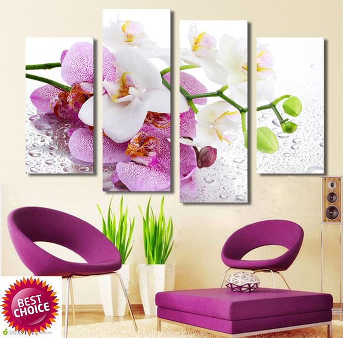 4 painel de pintura impresso borboleta flor da orqudea phalaenopsis rosa impresso em tela home decor - Flor Decor