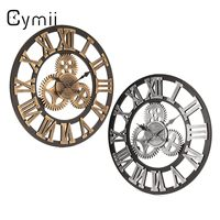Cymii 60cm 3D Retro Industrial Large Gear Wall Clock Rustic Wooden Luxury Art Vintage Home Office Decoration Supplies