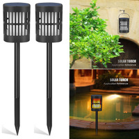 Realistic Waterproof Solar Lamp Party Easy Install Torch Bulb Outdoor Durable Home Decor Flickering Garden Ornament Flame Effect