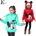 KEAIYOUHUO Girl Coat Frozen Winter 2017 Baby Girl Long Sleeve Flower Jacket Children Thick Warm Kids Christmas Jackets For Girls