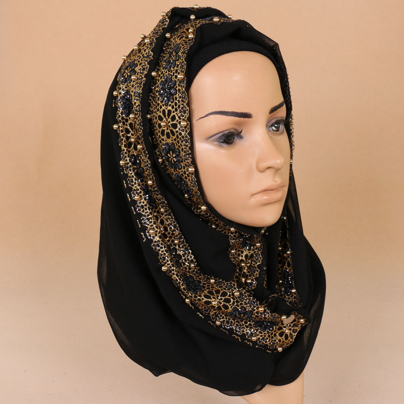Fashion Muslim Pearl Lace Scarf Solid Ethnic Women Foulard Cover Headband Foulard Hijab Wholesale Drop Shipping