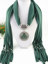 Top Fashion Jewelry Scarves Metal Pendant necklace scarf  head scarf  Tassel Scarf Women Free  Shipping spike tassel scarf necklace pendants scarves autumn women necklace scarf charm bohemian jewelry gift