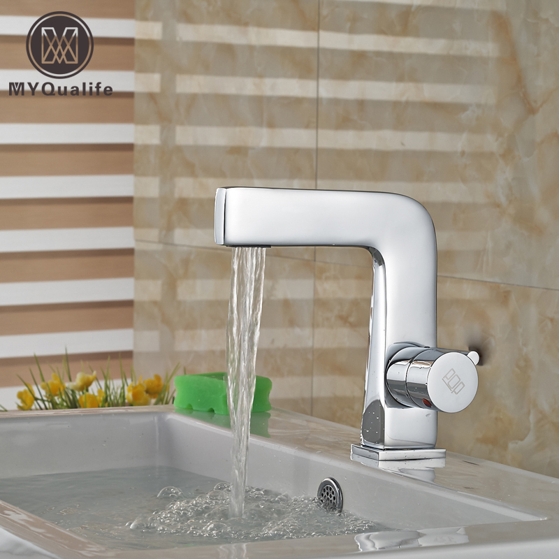 Newly Brass Chrome Basin Faucet Single Handle Bathroom Vanity Sink Mixers with Hot and Cold Water new designed antique brass bamboo arts bathroom basin sink drain pop up waste vanity with overflow