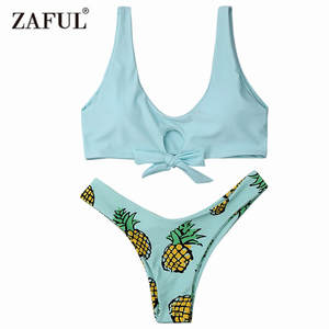 19c2fed218 Zaful Summer Sexy Swimwear 2017 Bottom Bikini Set Women Pineapple Print  Thong