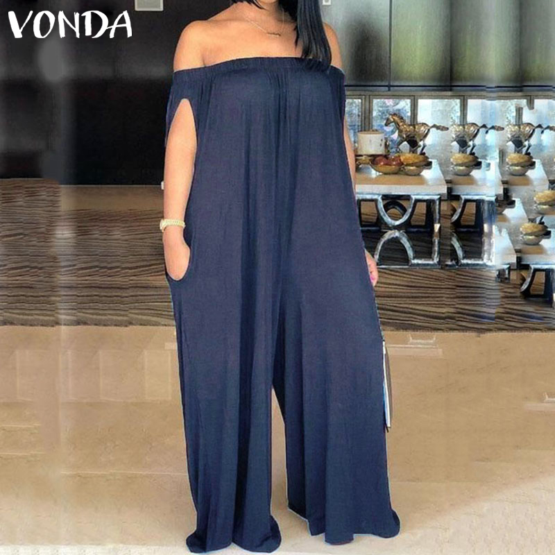 Plus Size Rompers Womens Jumpsuit VONDA 2020 Vintage Denim Wide Leg Pants Sexy Off The Shoulder Playsuits Casual Loose Overalls