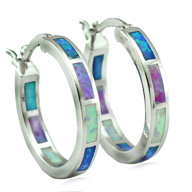 HAIMIS Wholesale Retail Great Synthetic Blue White Pink Fire Opal Women Opal Hoop Oorbellen 20mm Gratis geschenkdoos