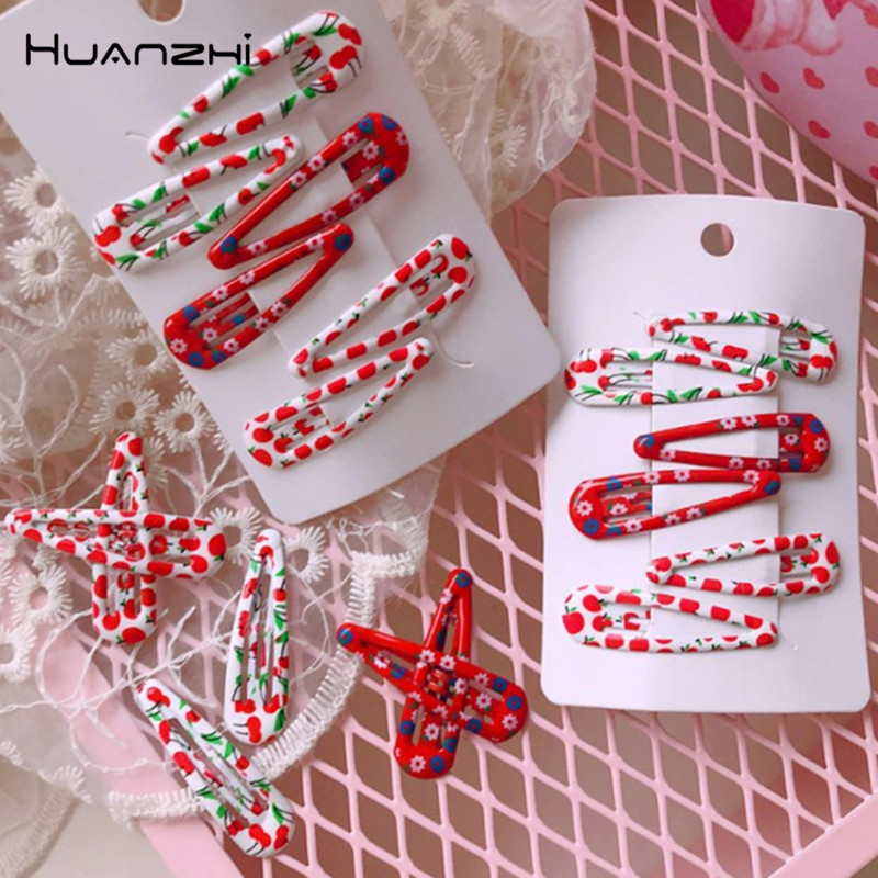 HZ 2019 Chic Vintage Cherry Cute Flower Korea Bling Red Hair Clip  Hair Grip Barrettes Hairpin Hair Accessories For Women Girl