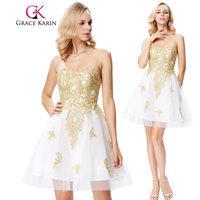 Grace Karin Short Cocktail Dress Appliques Beaded Homecoming Robe De Cocktail Party Prom Gowns Graduation Dresses