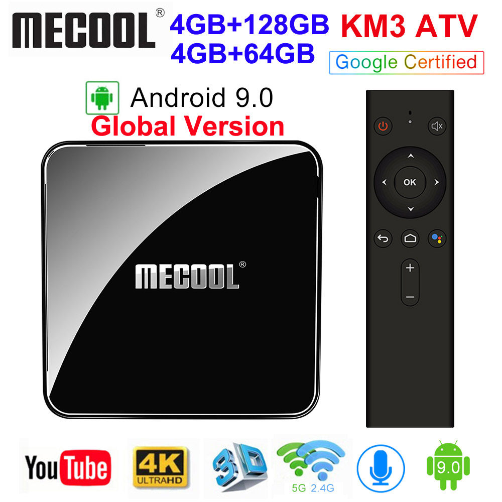 MECOOL KM3 ATV Androidtv Google Certified Android 9.0 TV Box 4GB 64GB Amlogic S905X2