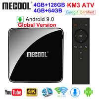 MECOOL KM3 ATV Androidtv Google Certificato Android 9.0 TV Box 4GB 64GB 128GB Amlogic S905X2 4K 5G Dual Wifi BT4.0 KM9 PRO 4G 32GB