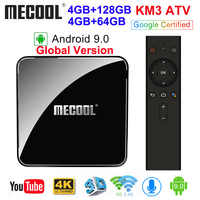 MECOOL KM3 ATV Androidtv Google Certified Android 9.0 TV Box 4GB 64GB 128GB Amlogic S905X2 4K 5G Dual Wifi BT4.0 KM9 PRO 4G 32GB